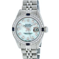 Rolex Stainless Steel Blue MOP Diamond and Sapphire DateJust Ladies Watch