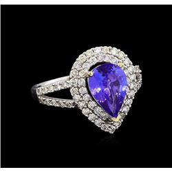 1.70 ctw Tanzanite and Diamond Ring - 18KT White Gold