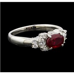 0.99 ctw Ruby and Diamond Ring - Platinum