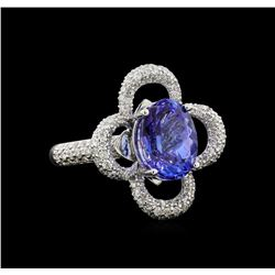 14KT White Gold 5.81 ctw Tanzanite and Diamond Ring
