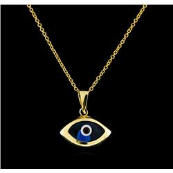 14KT Yellow Gold Evil Eye Pendant With Chain