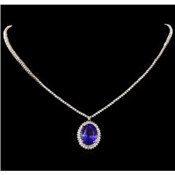 14KT White Gold 15.40 ctw GIA Certified Tanzanite and Diamond Necklace