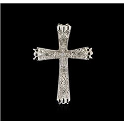 0.05 ctw Diamond Cross Pendant - 10KT White Gold