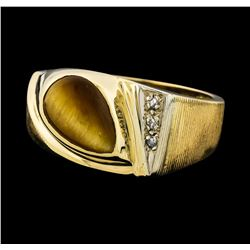 1.65 ctw Cats Eye and Diamond Ring - 14KT Yellow Gold