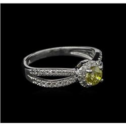 0.72 ctw Yellow Diamond Ring - 14KT White Gold