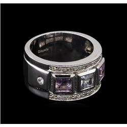 0.54 ctw Amethyst and White Sapphire Ring - .925 Silver