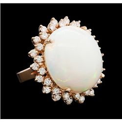 16.08 ctw Opal and Diamond Ring - 14KT Rose Gold