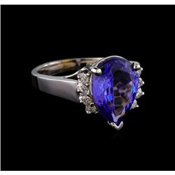 4.47 ctw Tanzanite and Diamond Ring - 14KT White Gold