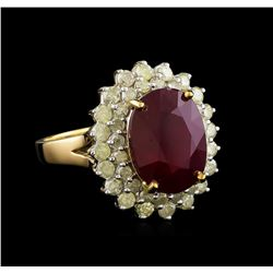 7.86 ctw Ruby and Diamond Ring - 14KT Yellow Gold