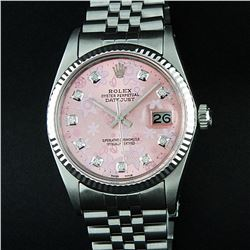 Rolex Stainless Steel Pink Floral Diamond DateJust Men's Watch