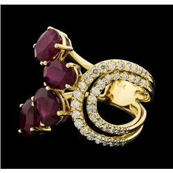 4.73 ctw Ruby and Diamond Ring - 14KT Yellow Gold