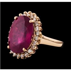 12.95 ctw Ruby and Diamond Ring - 14KT Rose Gold