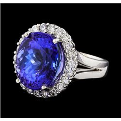 GIA Cert 13.23 ctw Tanzanite and Diamond Ring - 14KT White Gold