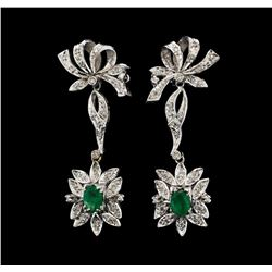 1.40 ctw Emerald and Diamond Earrings - 9KT White Gold