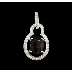 2.86 ctw Red Spinel and Diamond Pendant - 14KT White Gold