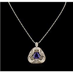 8.09 ctw Tanzanite and Diamond Pendant With Chain - 14KT Yellow Gold