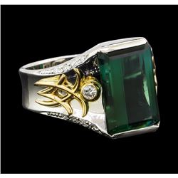 5.04 ctw Tourmaline and Diamond Ring - Platinum and Yellow Gold