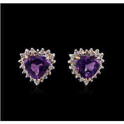 2.20 ctw Amethyst and Diamond Earrings - 14KT Yellow Gold