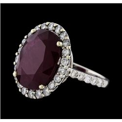 12.76 ctw Ruby and Diamond Ring - 14KT White Gold