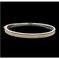 0.72 ctw Diamond Bangle Bracelet - 14KT White and Yellow Gold