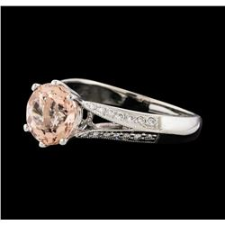 1.94 ctw Morganite and Diamond Ring - 18KT White Gold