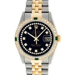 Rolex Two-Tone VVS Diamond and Emerald DateJust Men's Watch