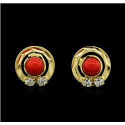 14KT Yellow Gold Coral Earrings