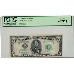 1950-B $5 PCGS Gem New 65PPQ Federal Reserve Note