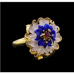 Lapis Lazuli Crystal Ring - 14KT Yellow Gold