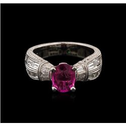 1.14 ctw Pink Sapphire and Diamond Ring - 18KT White Gold