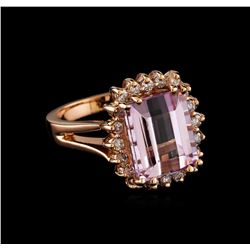 7.82 ctw Kunzite and Diamond Ring - 14KT Rose Gold
