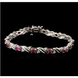 14KT White Gold 4.92 ctw Ruby and Diamond Bracelet