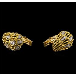 0.80 ctw Diamond Cuff Links - 14KT Yellow Gold