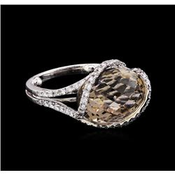 3.00 ctw Smoky Quartz and Diamond Ring - 18KT White Gold