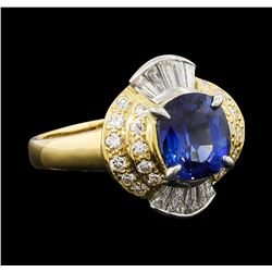 2.27 ctw Sapphire and Diamond Ring - 18KT Yellow Gold