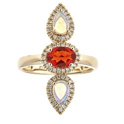 0.52 ctw Fire Opal, Opal, and Diamond Ring - 14KT Yellow Gold