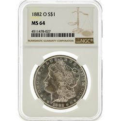 1882-O NGC MS64 Morgan Silver Dollar