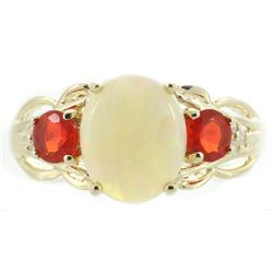 1.46 ctw Opal, Fire Opal, and Diamond Ring - 14KT Yellow Gold