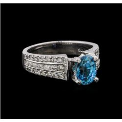 2.25 ctw Blue Zircon and Diamond Ring - 18KT White Gold