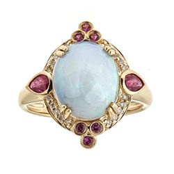 3.05 ctw Opal, Ruby and Diamond Ring - 14KT Yellow Gold