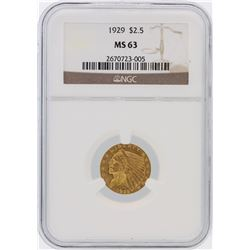1929 NGC MS63 $2.50 Indian Head Quarter Eagle Gold Coin
