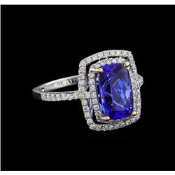 3.70 ctw Tanzanite and Diamond Ring - 18KT White Gold