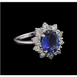 2.47 ctw Tanzanite and Diamond Ring - 14KT White Gold