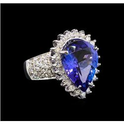 14KT White Gold 7.39 ctw Tanzanite and Diamond Ring