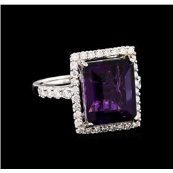 14KT White Gold 6.43 ctw Amethyst and Diamond Ring
