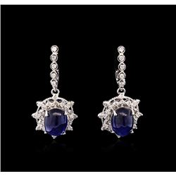 11.53 ctw Dyed Sapphire and Diamond Earrings - 14KT White Gold