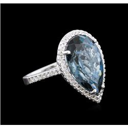 12.06 ctw Blue Topaz and Diamond Ring - 14KT White Gold