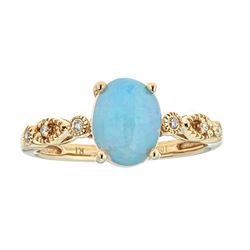1.84 ctw Opal and Diamond Ring - 14KT Yellow Gold