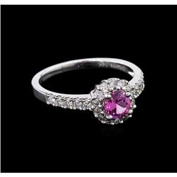 0.59 ctw Pink Sapphire and Diamond Ring - 14KT White Gold