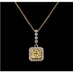 0.71 ctw Diamond Pendant With Chain - 14KT Yellow And White Gold